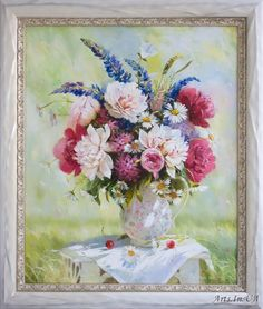 Ira Volkova - Spring bouquet with peonies and lupine
