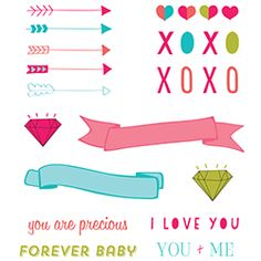 """Use these sweet high resolution png files to make your Valentine a card that truly says """"I love You"""". Arrows, hearts, gems and more!"""