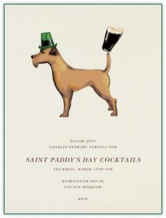 """""""Irish Terrier"""" Saint Paddy's Day onling cocktail party invitation by Paperless Post."""