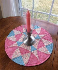 Round Quilted Table Runner. Summer Candle Mat. Spring by seaquilt