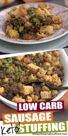 This keto sausage and bread stuffing is even better than the traditional kind. It's a must make low carb holiday side dish. Keto Stuffing, Stuffing Recipes, Thanksgiving Stuffing, Thanksgiving Recipes, Thanksgiving Table, Lchf, Low Carb Recipes, Healthy Recipes, Bread Recipes