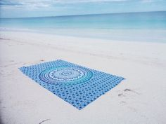 Blue ombre mandala beach throw tapestry by KOSMOtapestrys on Etsy