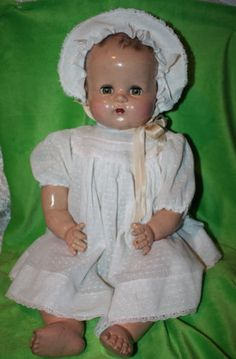 "Vintage Ideal Composition/Cloth Green Eyed Baby Doll -24"" from the 1930-40's? #FOLLOWITFINDIT"