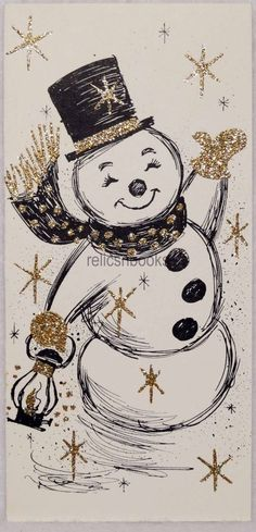 #388 50s GLITTERED Mid Century Snowman, Vintage Christmas Card-Greeting