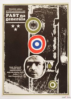 Movie poster Trap for the General. Poster design by Czech poster artist Dobroslav Foll, 1971. #movieposters #graphicdesign