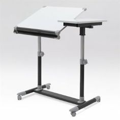 """Europa Craft Split Top Table Color: Pink / White by Studio Designs. $78.70. Dual Top Surface Allow you to have a 21"""" x 23.5"""" Angled Top and a 11"""" x 21.5"""" Flat Top for Supplies or Laptop.. (4)Casters for Mobility. 1.5""""D x 24""""L Pencil Tray.. Angle Adjustment to 32 Degrees. 10206 Color: Pink / White Features: -Angle adjustment to 32 degrees.-Split top table is ideal for multi-tasking artists and hobbyists.-Angled top and a 11"""" x 21.5"""" flat top for supplies or laptop.-Dual t... Home Office Furniture, Kitchen Furniture, Drafting Desk, Drafting Tables, Home Kitchens, 5 D, Pink White, Design, Home Decor"""