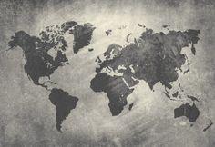 Grey World Map Wallpaper, Large - Industrial - Wallpaper - by The Pepin Shop World Map Mural, World Map Wallpaper, Industrial Wallpaper, Water Color World Map, Map Background, Art Mural, Wall Art, Custom Wallpaper, Cartography