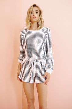 This slightly oversized striped pullover is the everyday essential you didn't know you needed.) Make it a set with our Napa Shorts. Style Number: Black and White Stripe White Ribbed Neckline, Hemline, and Cuff Cotton Rayon Made in LA American Made Clothing, Spring Tops, Basic Tops, Hemline, Rompers, Sleep Tight, Pullover, Long Sleeve, Cotton