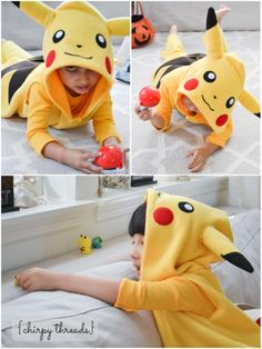This year, Ethan wanted to be Pikachu for Halloween! Although he is only four, and doesn't know too much about Pokemon, he loves this cute little yellow character. Halloween Sewing, Family Halloween Costumes, Halloween Kids, Diy Baby Costumes, Boy Costumes, Costume Ideas, Pikachu Costume Toddler, Pikachu Diy Costume, Sewing Projects For Kids
