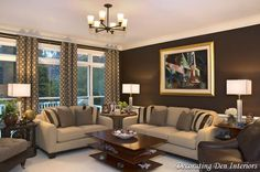 Brown living room colors chocolate brown wall paint color in living room contemporary living room lake . Design Living Room, Paint Colors For Living Room, Bedroom Colors, Decoration Bedroom, Room Wall Decor, Wall Decorations, Chocolate Brown Walls, Living Room Furniture, Minimalist Home