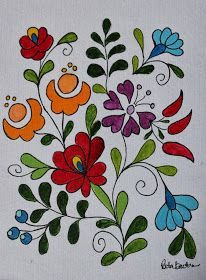 rita barton painted hungarian folk art flowers paint in a monochromatic colour scheme for a beautiful project or practice sheet - PIPicStats Mexican Embroidery, Hungarian Embroidery, Folk Embroidery, Learn Embroidery, Embroidery Monogram, Chain Stitch Embroidery, Embroidery Stitches, Embroidery Patterns, Folk Art Flowers
