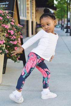 SO MUCH SASS in the Mini Antigua Floral Leggings. Check out all our Kids Fitness styles! | @albionfit