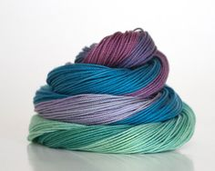 Size 30 hand dyed tatting thread, crochet cotton, raspberry, cerulean, mint green, forest green, lavender, and plum.