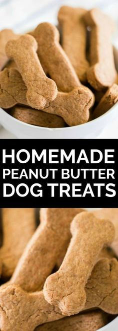 These easy, healthy Homemade Dog Treats are a special recipe to serve your favorite pet! Homemade dog treats are a simple way to let your little puppy know they're loved. This easy, healthy homemade dog Homemade Dog Cookies, Homemade Peanut Butter, Homemade Dog Food, Homemade Dog Biscuits, Peanut Butter Dog Biscuits, Recipe For Peanut Butter Dog Treats, Homemade Recipe, Puppy Treats, Diy Dog Treats