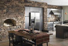stone kitchen.