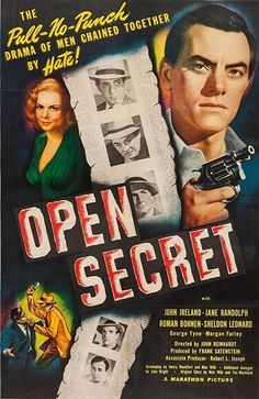Open Secret (Marathon Pictures, One Sheet X Crime. Starring John Ireland, Jane - Available at Sunday Internet Movie Poster. Poster Ads, Movie Poster Art, Film Posters, Sheldon Leonard, Crimes And Misdemeanors, Pull No Punches, Bogart And Bacall, Open Secrets, Crime Film
