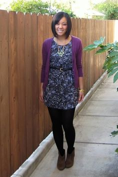 Cute dress with purple cardigan, belt, and black tights // Putting Me Together Source by outfit Purple Cardigan Outfits, Dress With Cardigan, Black Cardigan, Skirt Outfits, Tight Dresses, Cute Dresses, Pastel Dresses, Shift Dresses, Winter Outfits