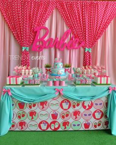 Birthday Party Printables What a beautiful backdrop and display for the food table at a Barbie party!What a beautiful backdrop and display for the food table at a Barbie party! Barbie Party Decorations, Barbie Theme Party, Barbie Birthday Party, 4th Birthday Parties, Birthday Bash, Birthday Decorations, Vintage Barbie Party, Birthday Ideas, Birthday Backdrop