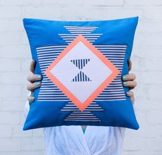 Geometric African Tribal Pillow Cobalt Charcoal by BrightJuly