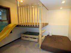 Turning Mirrors into Windows: Our New Basement Loft Play Area Basement Play Area, Kids Basement, Basement Windows, Basement Bedrooms, Kids Bedroom, Basement Bathroom, Basement Ideas, Bedroom Ideas, Indoor Playroom