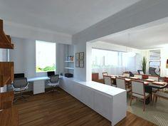 Neste projeto o mobiliário foi fundamental para delimitar espaços sem dividir os ambientes