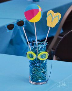 Summer Pool Party centerpiece