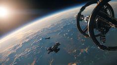 Anflug auf prozeduralen Planeten