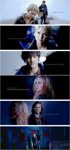 Meg Masters & Sam Winchester through the years. RIP Meg. They're watching over your unicorn.