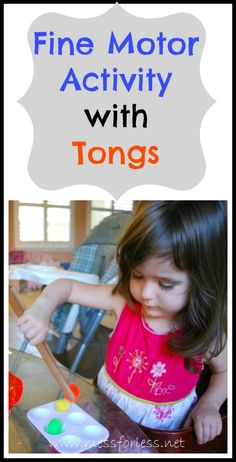 Mess For Less: Fine Motor Activity with Tongs - Simple way to get kids to strengthen their small hand muscles. #fine-motor