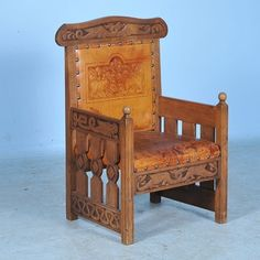 .Antique Norwegian Carved Chair with Embossed Leather c1890-1910  2,685 u.s.