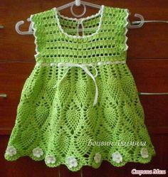 """Vestido croche para bebe com gráfico - """"Crochê da Mimi"""""""
