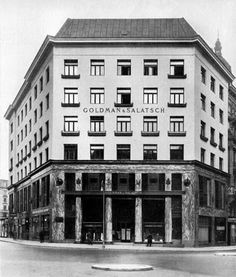 ornament to appeal to humans' upwardly-directed vision, he only takes ornamentation—when he uses it—as far as the first one or two levels of the exterior of his buildings. The Goldman and Salatsch building on the Michaelerplatz in Vienna (Fig. 5) illustrates this point perfectly.