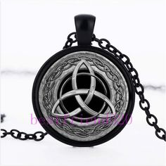 Metal Celtic Trinity Knot Cabochon Glass Black Chain Pendant Necklace #Handmade #Pendant