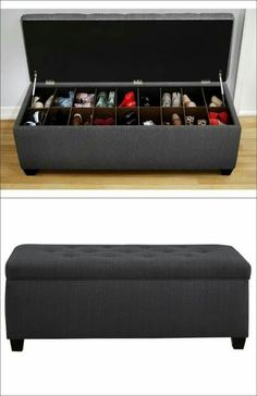 The Sole Secret Shoe Storage Bench - Candice Charcoal More (diy storage house shoe racks) Bench With Shoe Storage, Diy Storage, Storage Benches, Shoe Bench, Shoe Storage Ideas For Small Spaces, Shoe Cubby, Storage Design, Shoe Storage For Bedroom, Shoe Storage Trunk