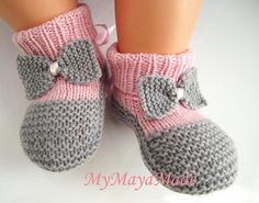 Pink and Gray Bow Baby Booties Socks Size from by MyMayaMade