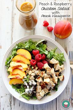 Peach & Raspberry Chicken Salad with Peach Vinaigrette is a light and easy Summer meal idea the whole family will love! #salad #chicken #easymealidea