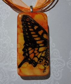 Orange You Glad Your a Butterfly Domino Pendant by pendantparadise, $9.95