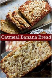 Oatmeal banana bread is perfect for breakfast This easy banana bread very simple and light coming together in no time and everyone loves it bananabread oatmealbananabread quickbread bestbananabread Greek Yogurt Banana Bread, Oatmeal Banana Bread, Flours Banana Bread, Easy Banana Bread, Baked Oatmeal, Gluten Free Banana Bread, Banana Bread Coconut Oil, Whole Wheat Banana Bread, Banana Walnut Bread Healthy