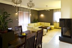 Living room and dining room - light couch, dark wood