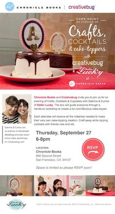 Come craft with us! We'll be at @Chronicle Books making cake toppers. The event is free!
