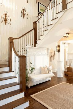 Foyer and staircase interior design ideas and home decor Staircase Interior Design, Architecture Design, Foyer Decorating, Interior Decorating, Foyer Staircase, Luxury Staircase, Entry Stairs, Built In Seating, Entry Foyer