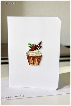 Quilling Grußkarte Geburtstag Cupcake Muffin von Liebeabies auf DaWanda.com