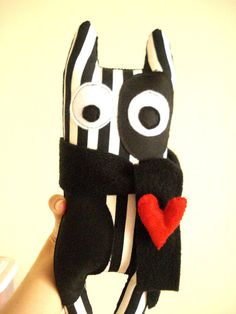 Black and White Striped Monster  Red Heart by cronopia6 on Etsy, $14.00