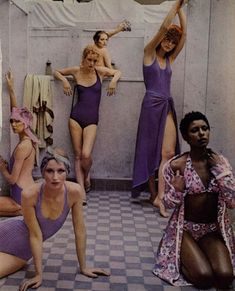 Deborah Turbeville photography, vintage swimwear, purple