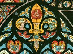1897 Vitraux Planche Originale Larousse  grand format, illustration 19ème siècle, éditions françaises Larousse