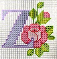 Bordado Passo a Passo: Monograma de flores em ponto cruz