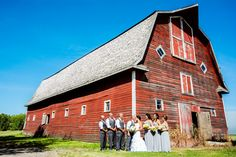 Wedding party photo at a barn.  www.allypapko.com