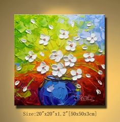 contemporary wall art,Palette Knife Painting,colorful Flower painting