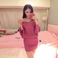 J42928 Europe fashion batwing sleeve tight hip knitting dress