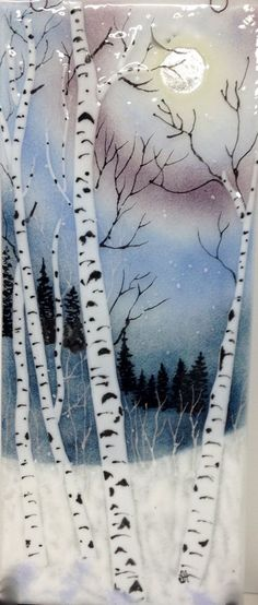 Fused Glass Silvery Moon Night Sky by JudiHartmanGLASSART on Etsy